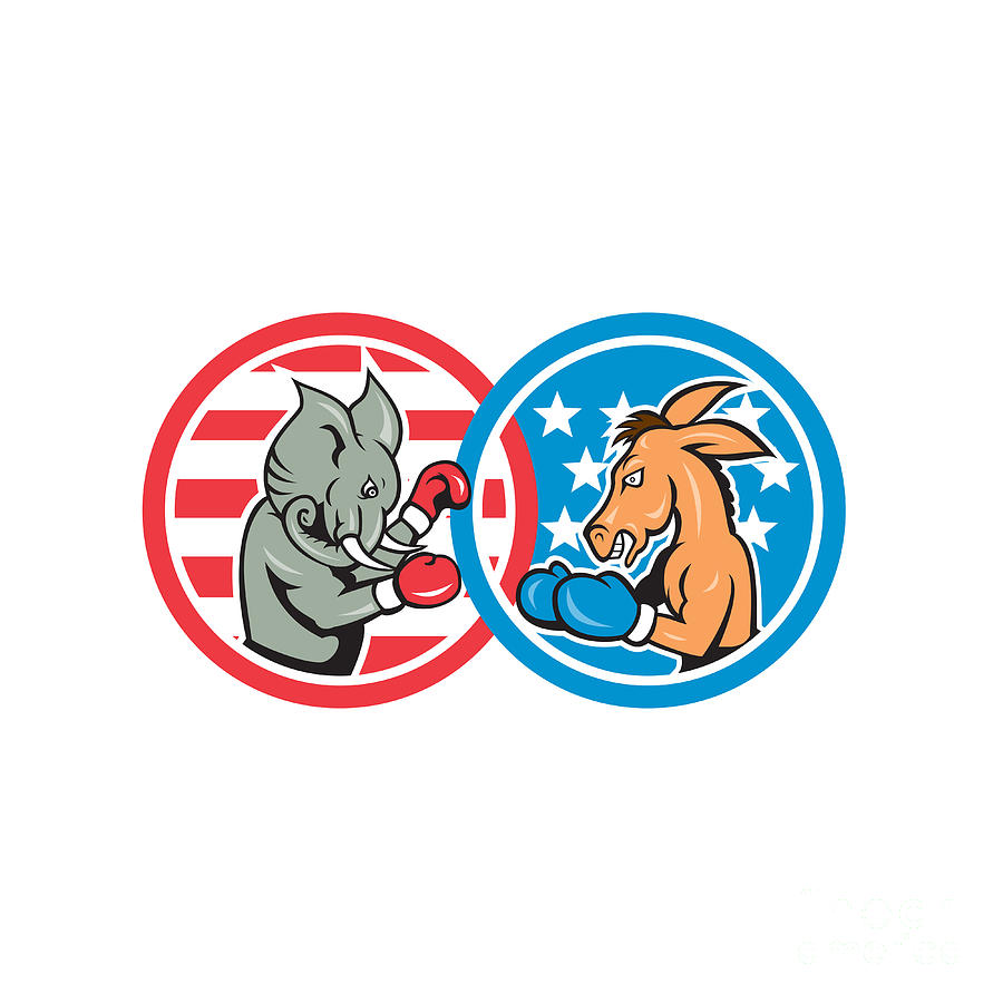 Boxing Democrat Donkey Versus Republican Elephant Mascot Digital Art