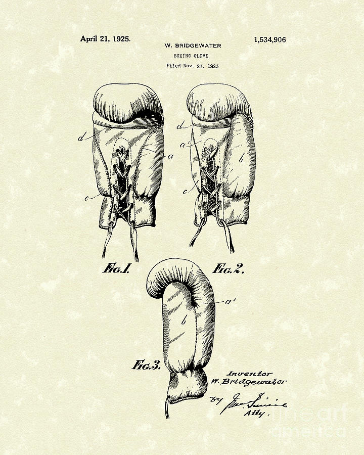Bridgewater Drawing - Boxing Glove 1925 Patent Art by Prior Art Design