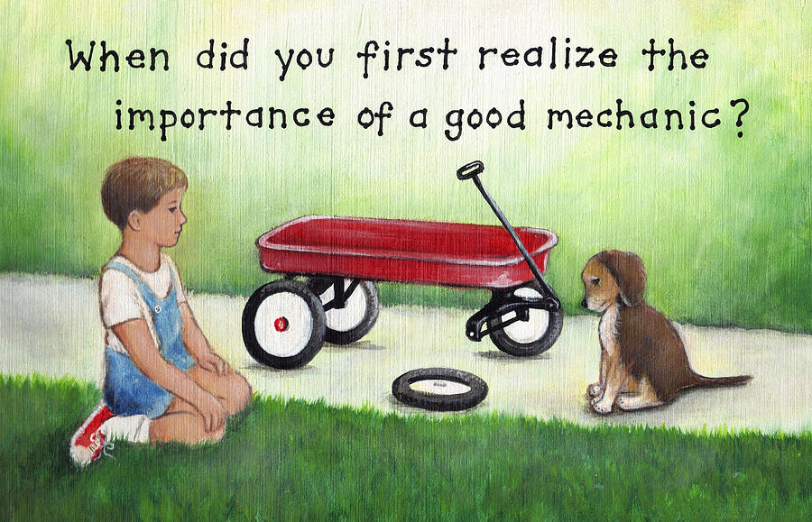 Boy And Dog With Broken Red Wagon Painting