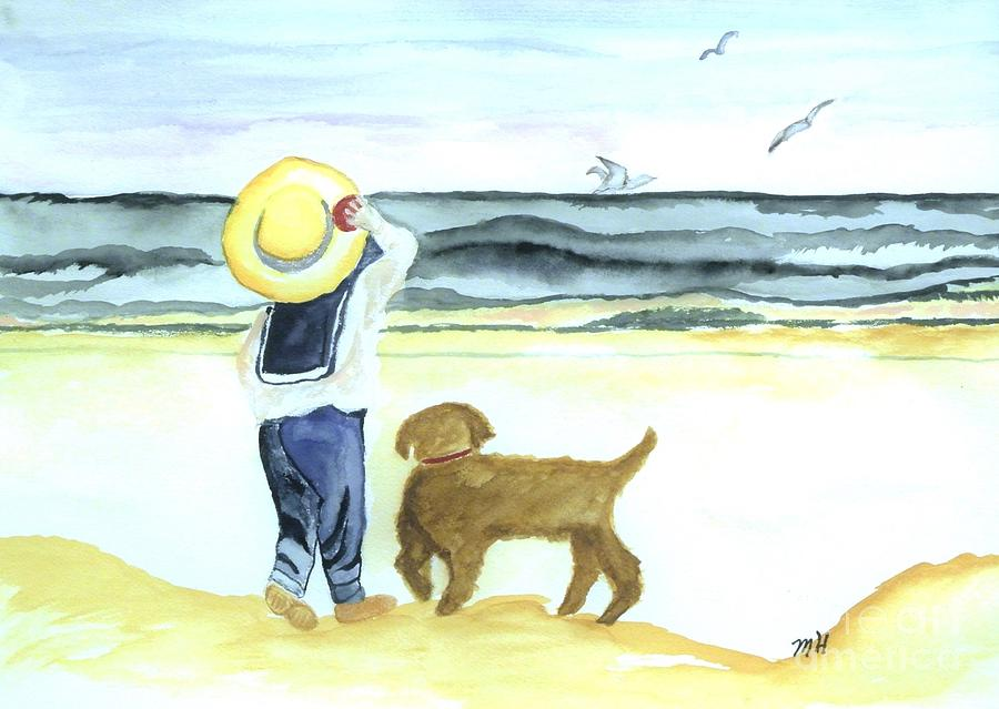 Boy And His Dog Painting  - Boy And His Dog Fine Art Print