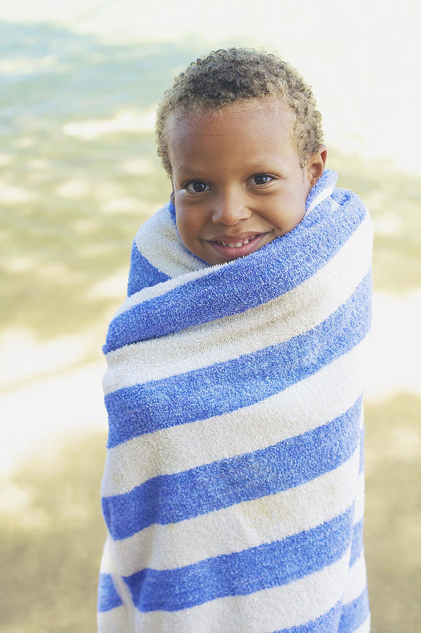 Boy In Towel Photograph