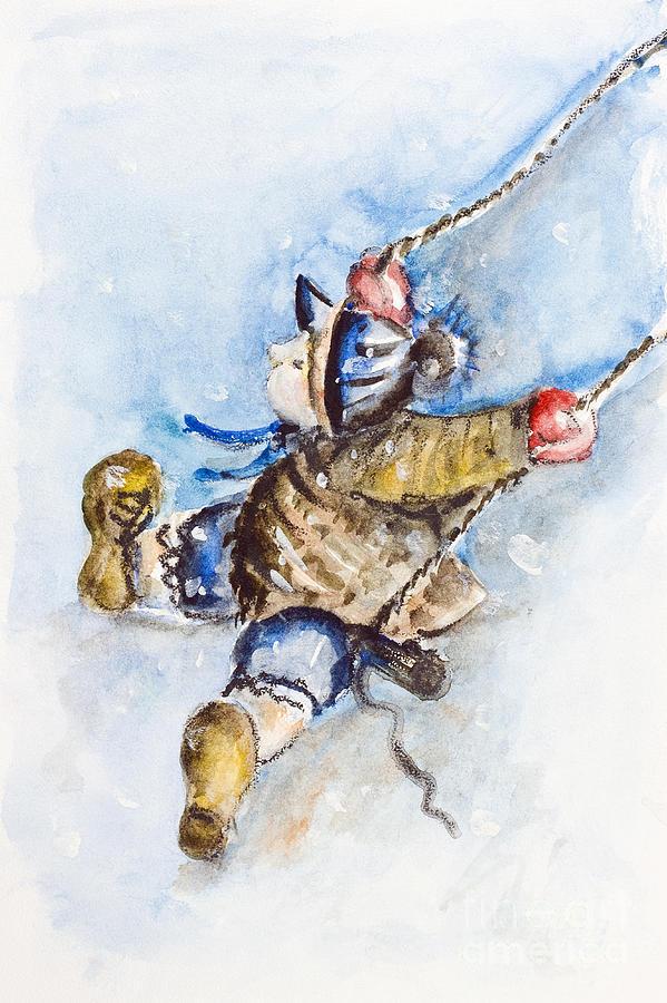 Child Painting - Boy On Swing by Irina Gromovaja
