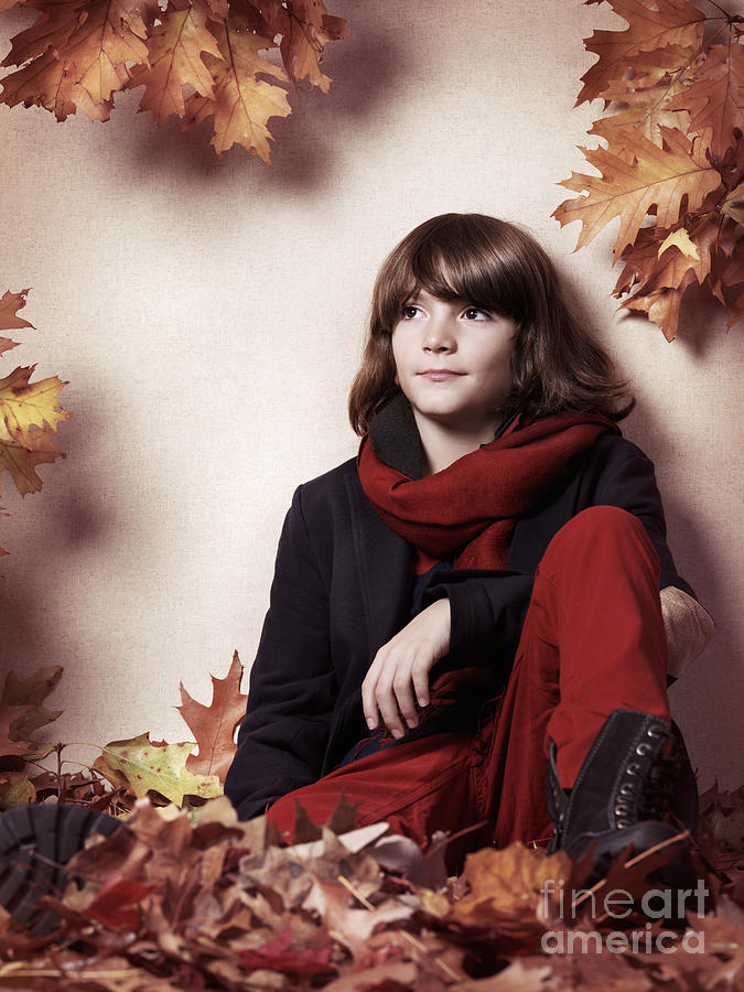 Boy Sitting On Autumn Leaves Artistic Portrait Photograph  - Boy Sitting On Autumn Leaves Artistic Portrait Fine Art Print