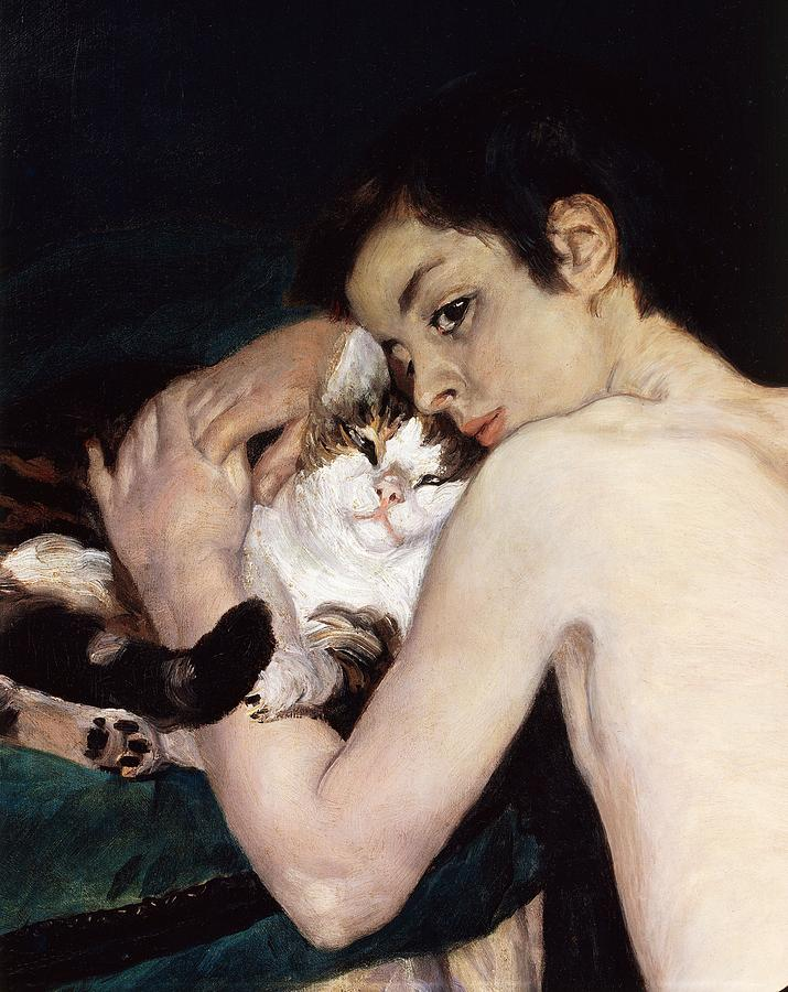 Boy With A Cat Painting  - Boy With A Cat Fine Art Print