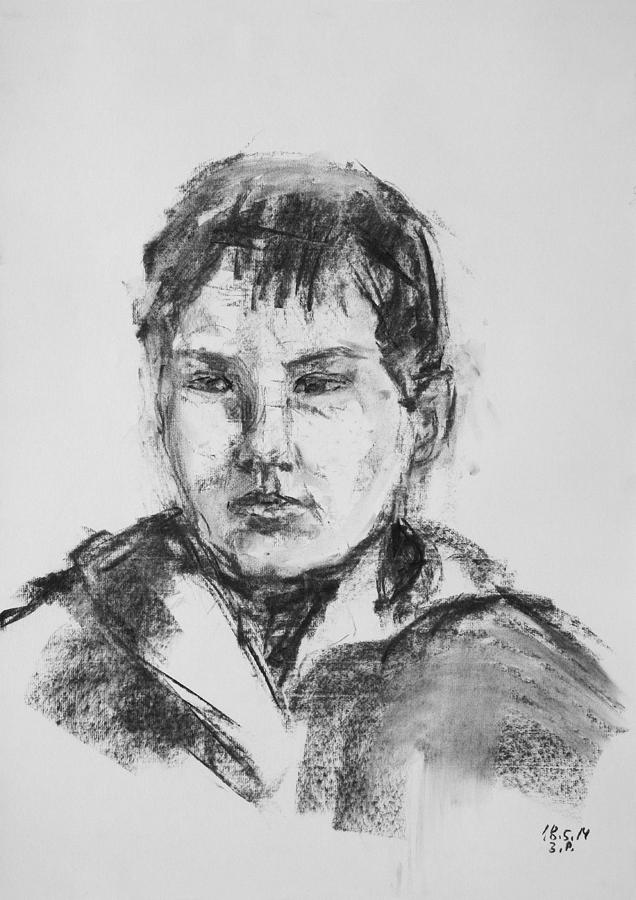 Barbara Pommerenke Drawing - Boy With Hooded Jacket by Barbara Pommerenke