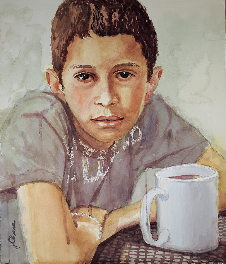 Boy With White Cup Painting