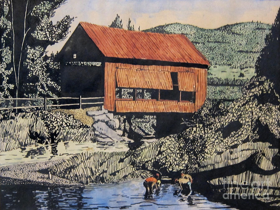 Boys And Covered Bridge Mixed Media