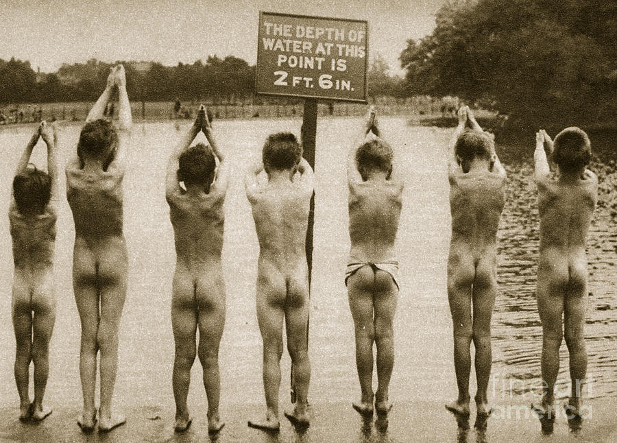 London Photograph - Boys Bathing In The Park Clapham by English Photographer
