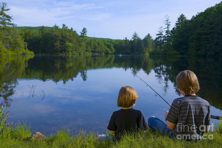 Blond Photograph - Boys Fishing by Diane Diederich