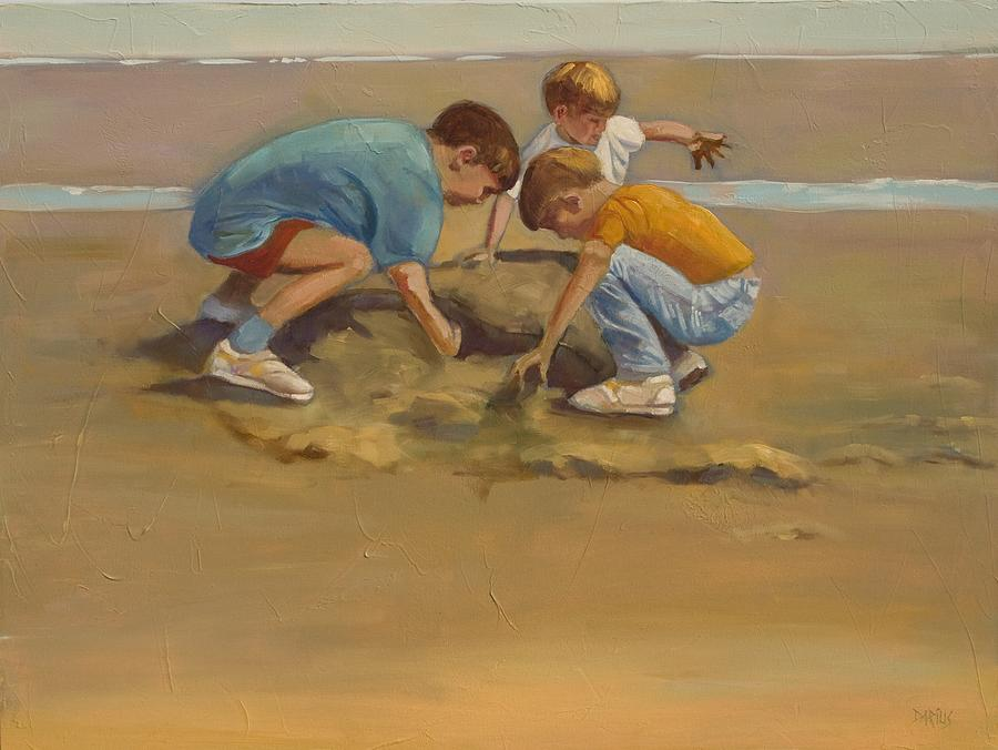 Boys In The Sand Painting