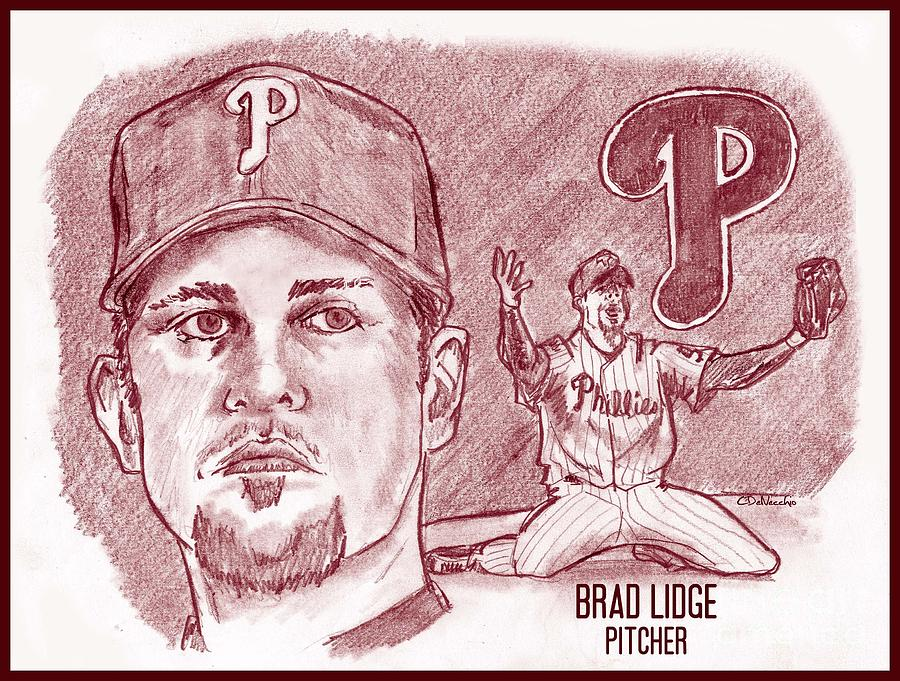 Philadelphia Phillies Drawing - Brad Lidge by Chris  DelVecchio