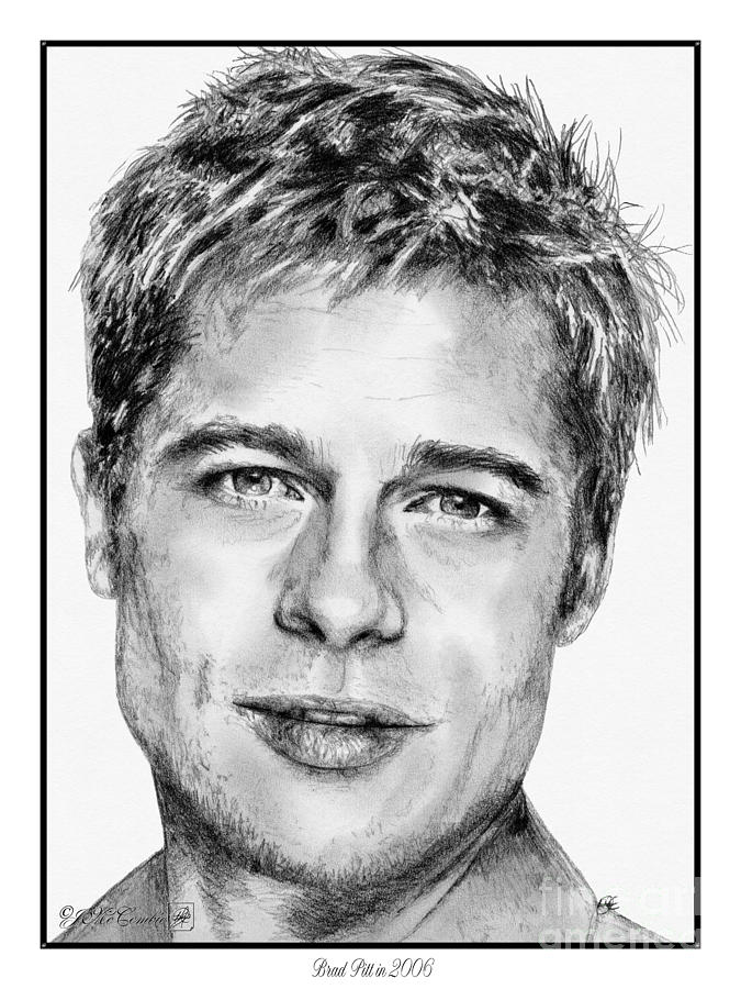 Brad Pitt In 2006 Drawing  - Brad Pitt In 2006 Fine Art Print