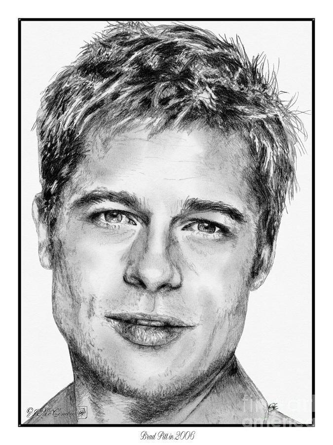 Mccombie Drawing - Brad Pitt In 2006 by J McCombie