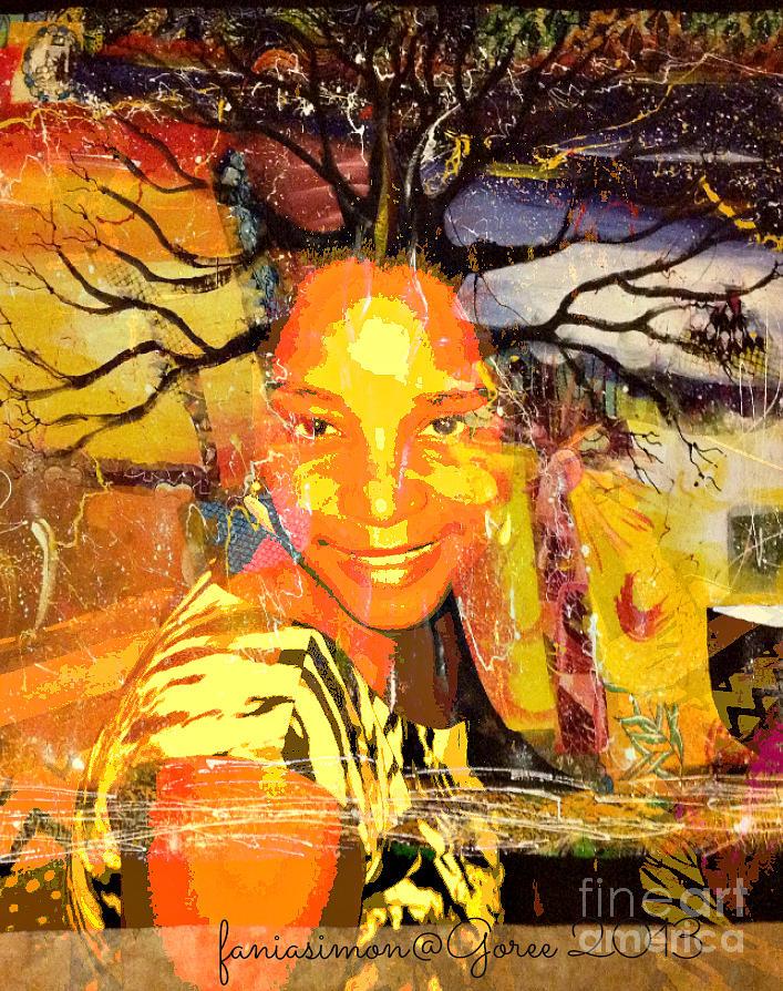 Fania Simon Mixed Media - Brain Of Baobab by Fania Simon