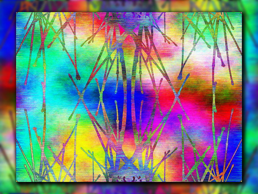 Abstract Digital Art - Branches In The Mist 7 by Tim Allen