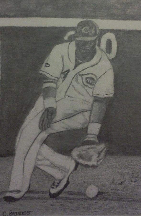 Reds Drawing - Brandon Phillips by Christy Saunders Church