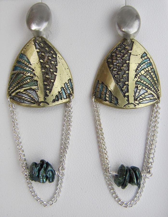 Brass Etching Green Teal Earrings Jewelry