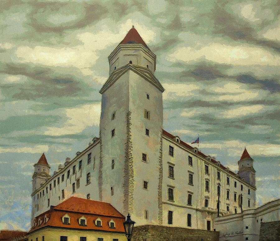 White Painting - Bratislava Castle by Jeff Kolker