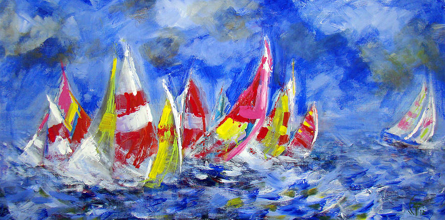 Regatta Painting - Braving The Heavy Winds by Walter Fahmy