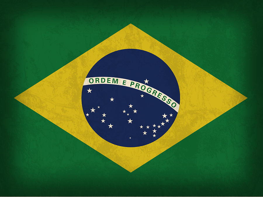 Brazil Flag Vintage Distressed Finish Mixed Media
