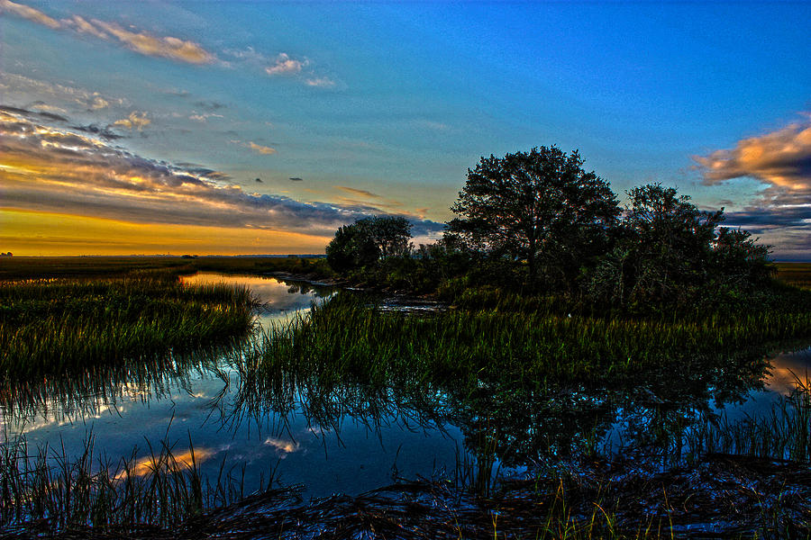 Hdr Photograph - Break Of Dawn Over Low Country Marsh by Savlen Art