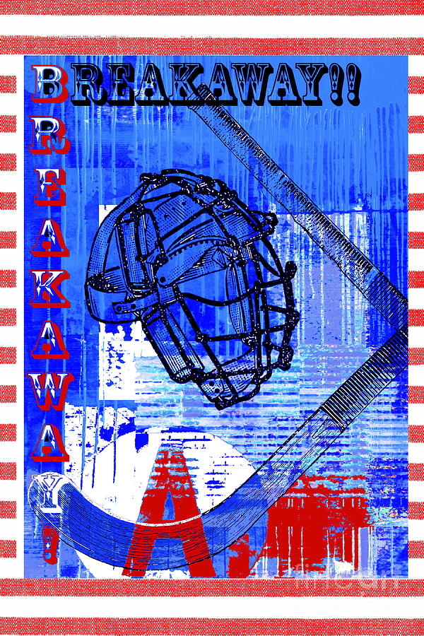 Breakaway Hockey Print Red Blue Mixed Media