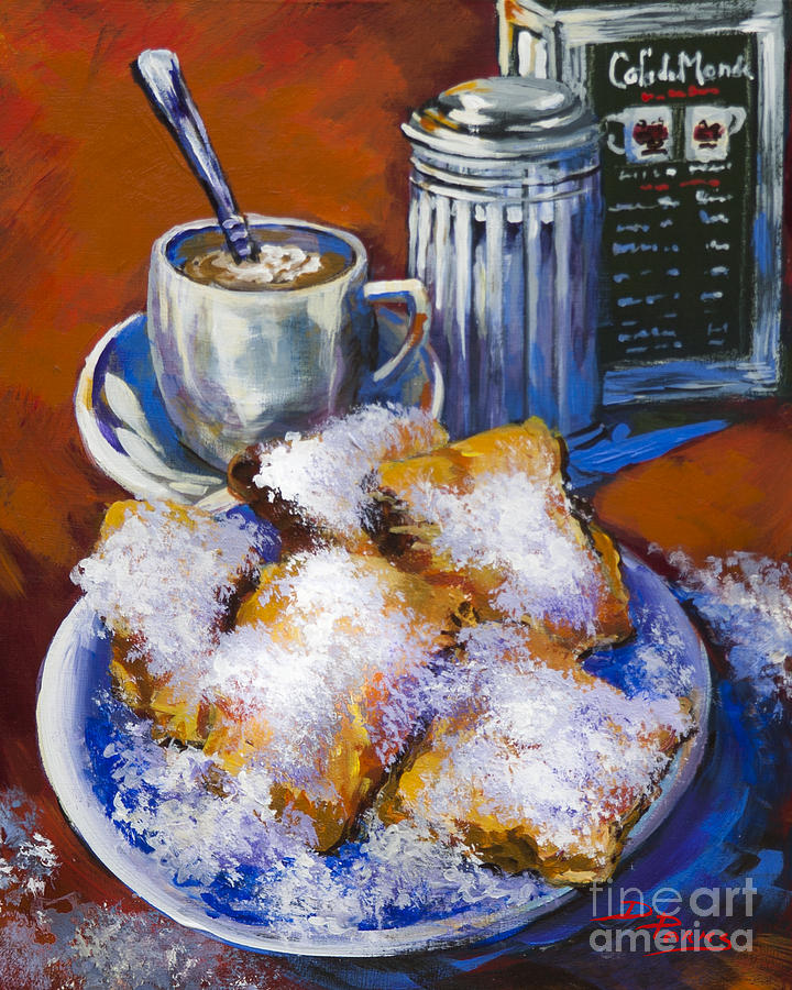 Breakfast At Cafe Du Monde Painting  - Breakfast At Cafe Du Monde Fine Art Print