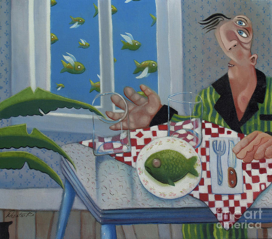 Breakfast In Barbados 1989 Painting  - Breakfast In Barbados 1989 Fine Art Print
