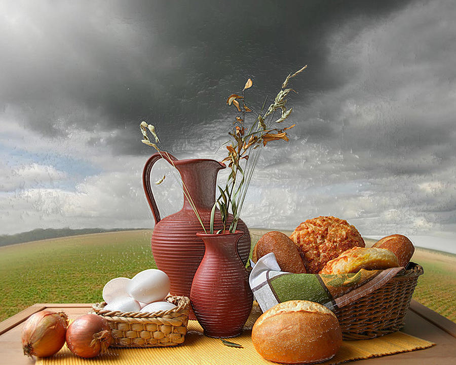 3d Modern Breakfast Outdoors Still Life