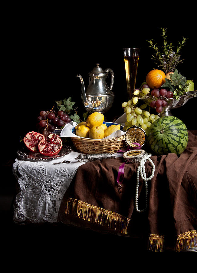Breakfast Piece With Fruits And Flute Glass Photograph