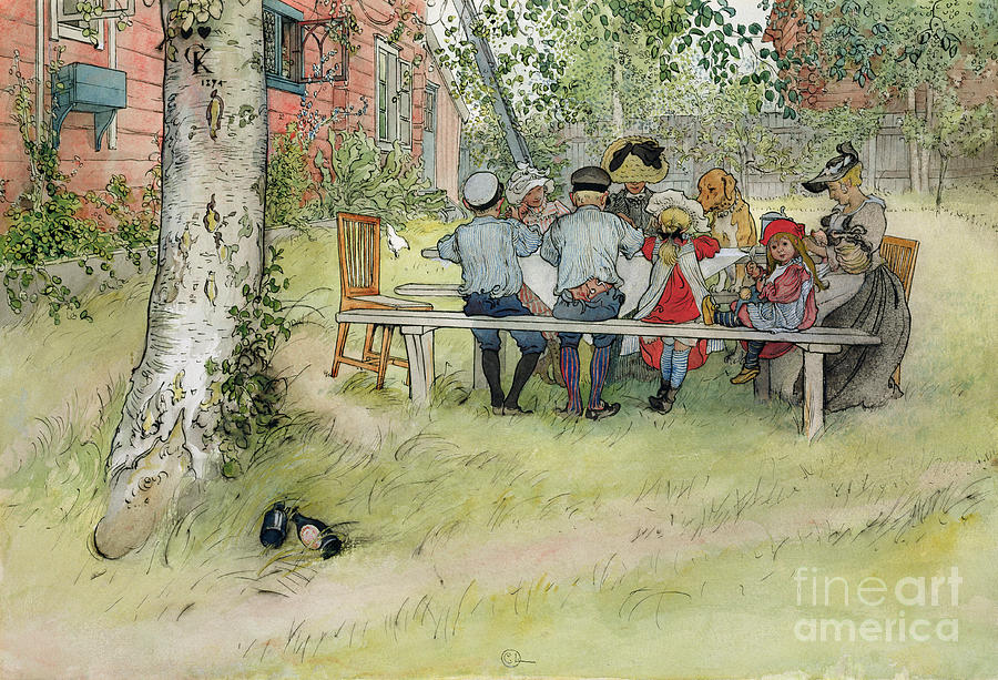 Picnic Table; Al Fresco; En Plein Air; Outdoors; Meal; Eating; Garden; Family; Children; Bench; Bonnet; Dog; Male; Female Painting - Breakfast Under The Big Birch by Carl Larsson