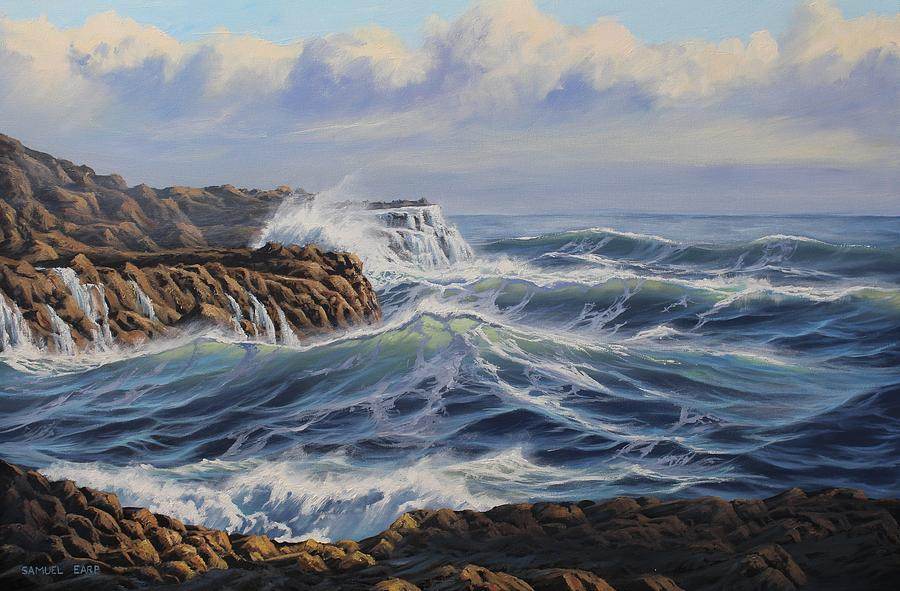 Breaking Waves At Whites Beach Painting
