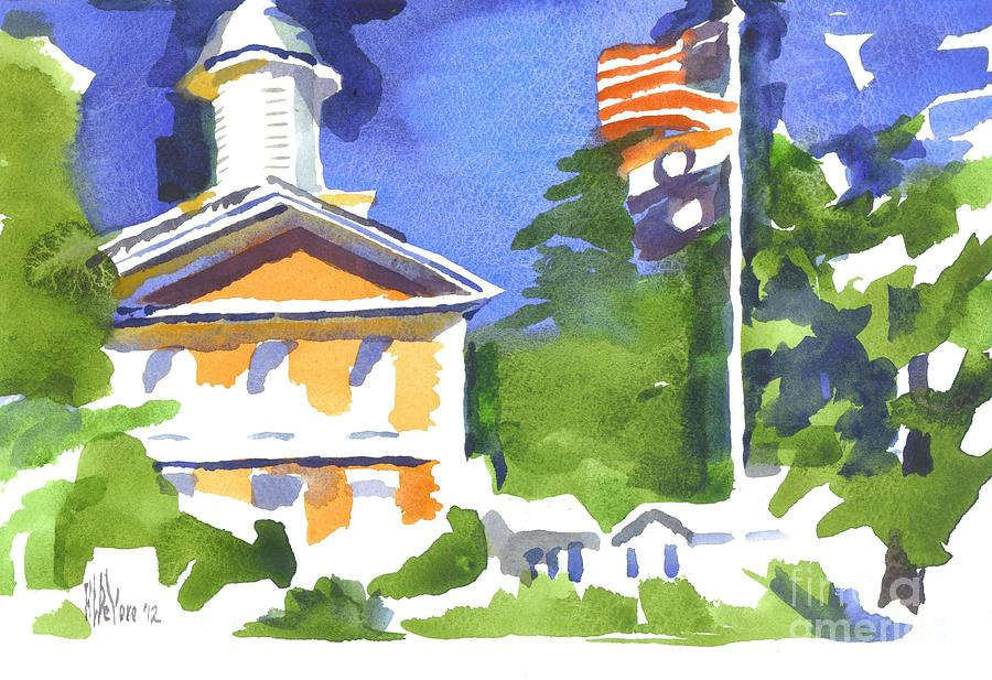 Breezy Morning At The Courthouse Painting  - Breezy Morning At The Courthouse Fine Art Print