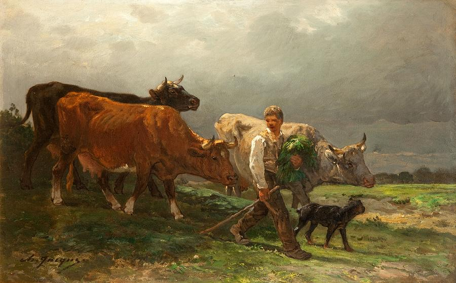 Breton Lad With Cattle Painting