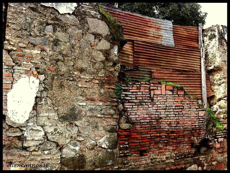 Brick And Tin Wall Photograph