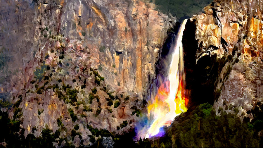 Bridalvail Falls Yosemite National Park Painting