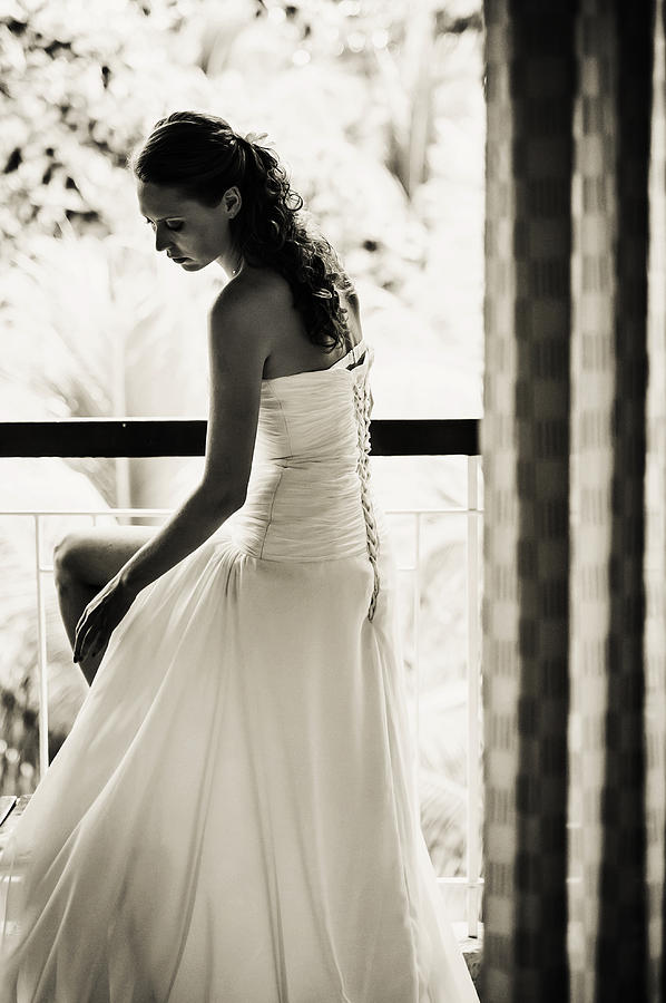 Bride At The Balcony II. Black And White Photograph
