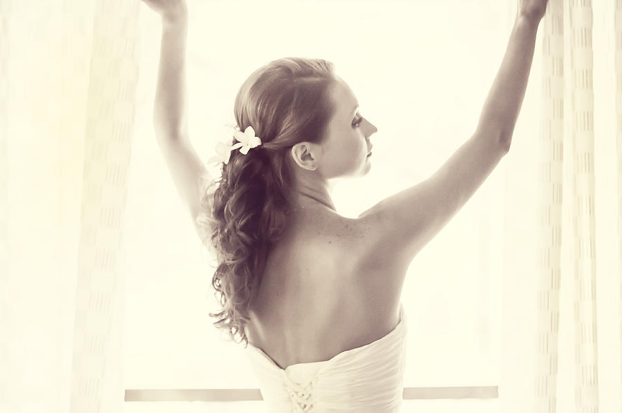 Marriage Photograph - Bride At The Window by Jenny Rainbow