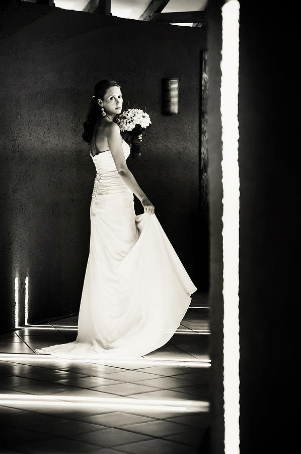 Marriage Photograph - Bride I. Black And White by Jenny Rainbow