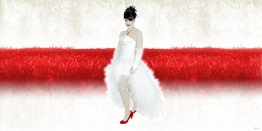 Bride In Red Digital Art  - Bride In Red Fine Art Print
