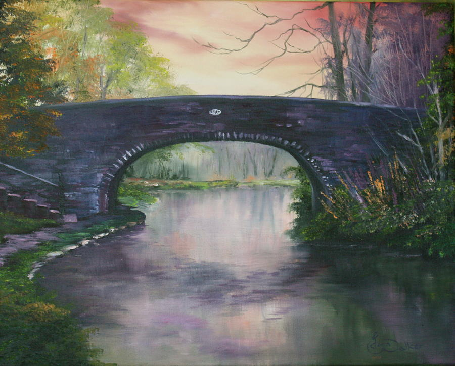 Bridge 91 At Fradley Canal Staffordshire Uk Painting  - Bridge 91 At Fradley Canal Staffordshire Uk Fine Art Print