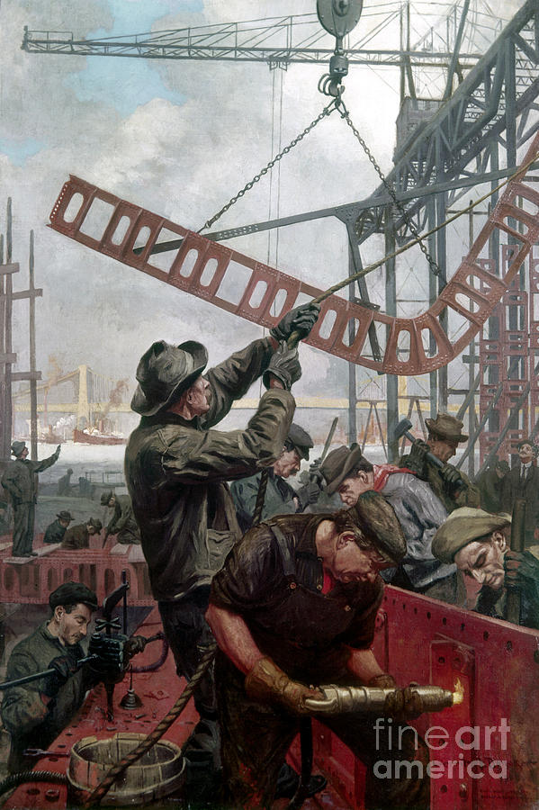 Bridge Construction 1909 Painting