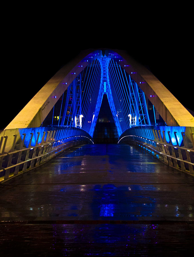 Bridge In Blue Digital Art  - Bridge In Blue Fine Art Print