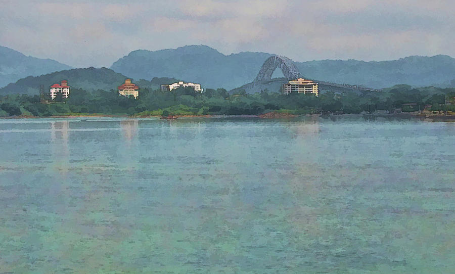 Julia Springer Photograph - Bridge Of The Americas From Casco Viejo - Panama by Julia Springer
