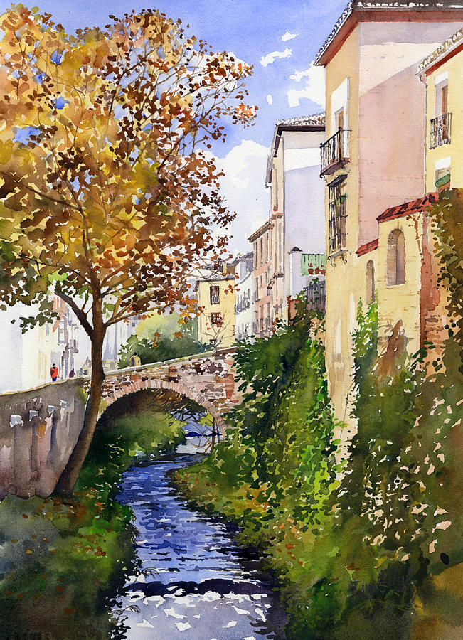 Spain Painting - Bridge Over The Rio Darro by Margaret Merry