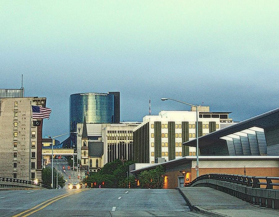 Bridge Street View Of Downtown Grand Rapids Michigan Drawing