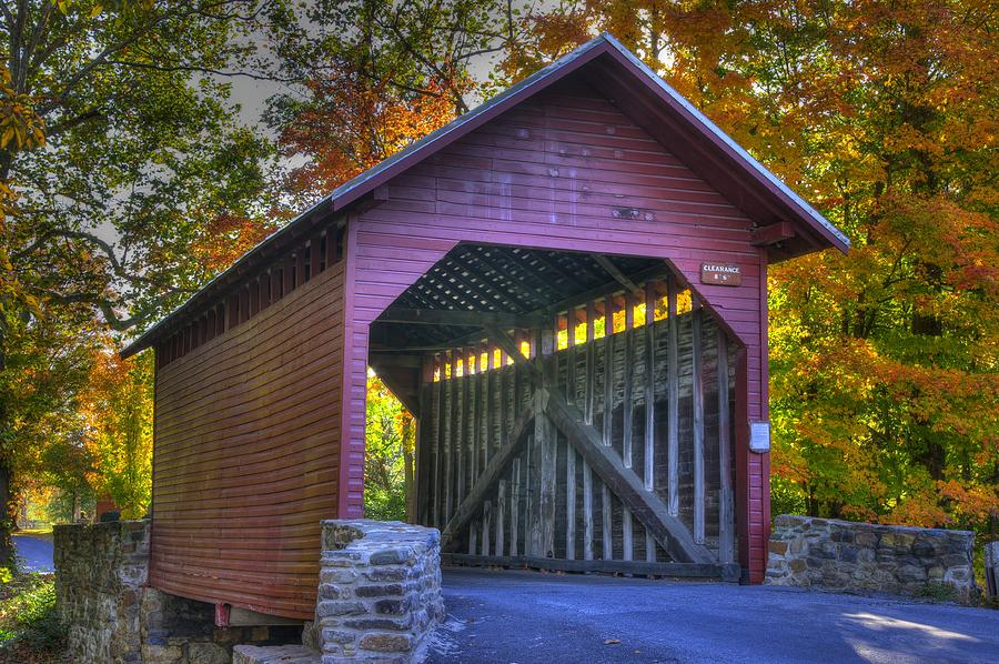 Bridge To The Past Roddy Road Covered Bridge-a1 Autumn Frederick County Maryland Photograph  - Bridge To The Past Roddy Road Covered Bridge-a1 Autumn Frederick County Maryland Fine Art Print