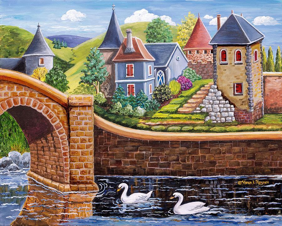 Bridge To The Village Painting By Karen Haynes