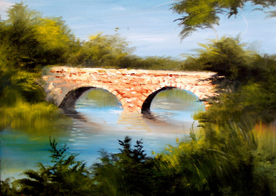 Bridge Under El Dorado Lake Painting  - Bridge Under El Dorado Lake Fine Art Print
