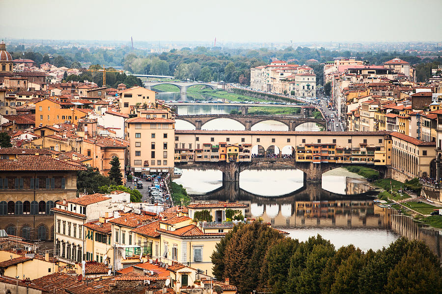 Florence Photograph - Bridges Of Florence by Susan Schmitz